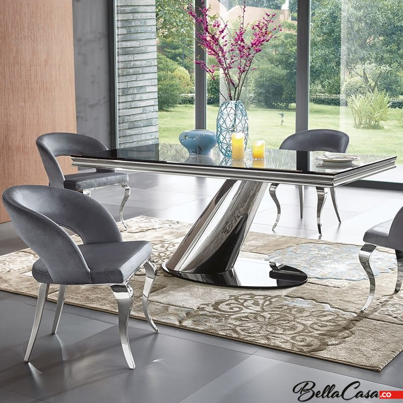 Elegant ... Glasplatte Modern Barock Tisch. Dorado Stół
