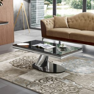 Coffee table Dorado - steel modern glamour glass top