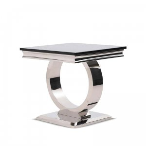 Side table Modena - steel modern glamour stone top