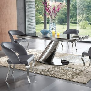 Dorado dining room table – steel, glass tabletop modern glamour