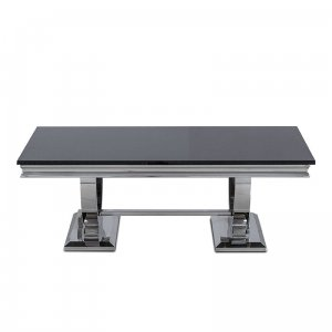 Coffee table Modena - steel modern glamour glass top