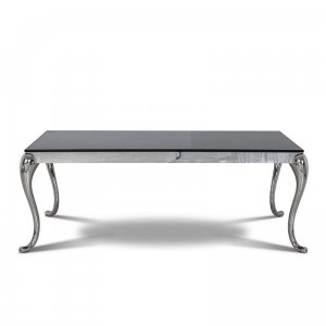 Dining table Orlando - steel modern glamour glass top