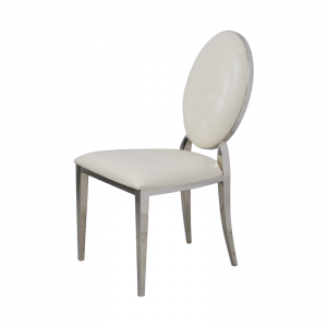 Chair glamor Ludwik White Croco - modern chair upholstered with eco-leather