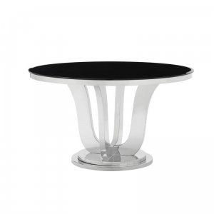 Table Emily - steel modern glamour glass top