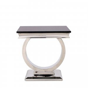 Side table Modena - steel modern glamour glass top