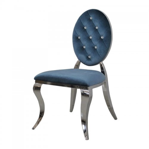Chair Glamor Ludwik II Blue   Modern Chair Quilted With Crystals